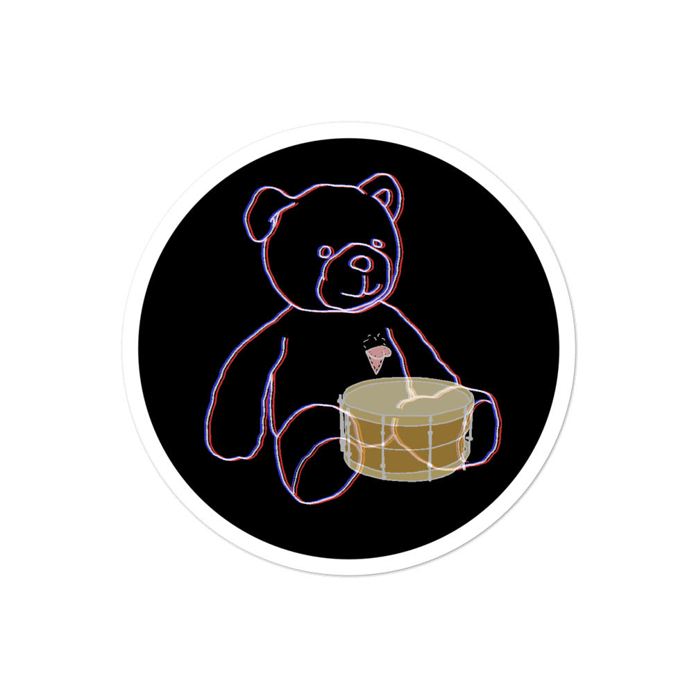 Neon Teddy Snare Percussion Bubble-Free Stickers-Stickers-Marching Arts Merchandise-4x4-Marching Arts Merchandise
