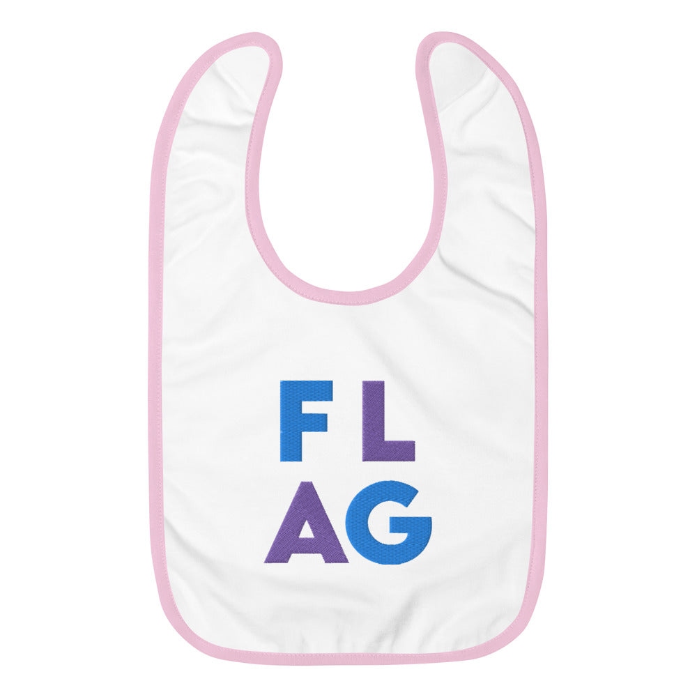 FLAG Embroidered Baby Bib-Marching Arts Merchandise-White / Pink-Marching Arts Merchandise