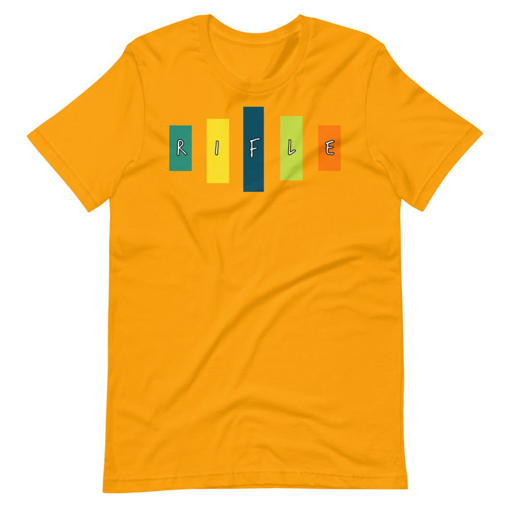 Retro Rifle Short-Sleeve Unisex T-Shirt-Marching Arts Merchandise-Gold-S-Marching Arts Merchandise
