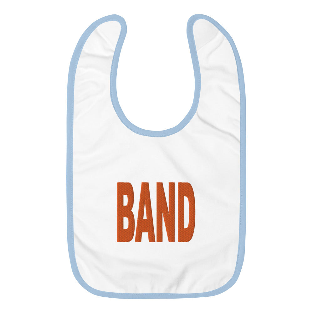 BAND Marching Band Embroidered Baby Bib-Baby Bib-Marching Arts Merchandise-White / Light Blue-Marching Arts Merchandise