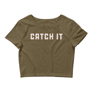 Catch It Color Guard Women's Crop Tee-Marching Arts Merchandise-Heather Olive-XS/SM-Marching Arts Merchandise