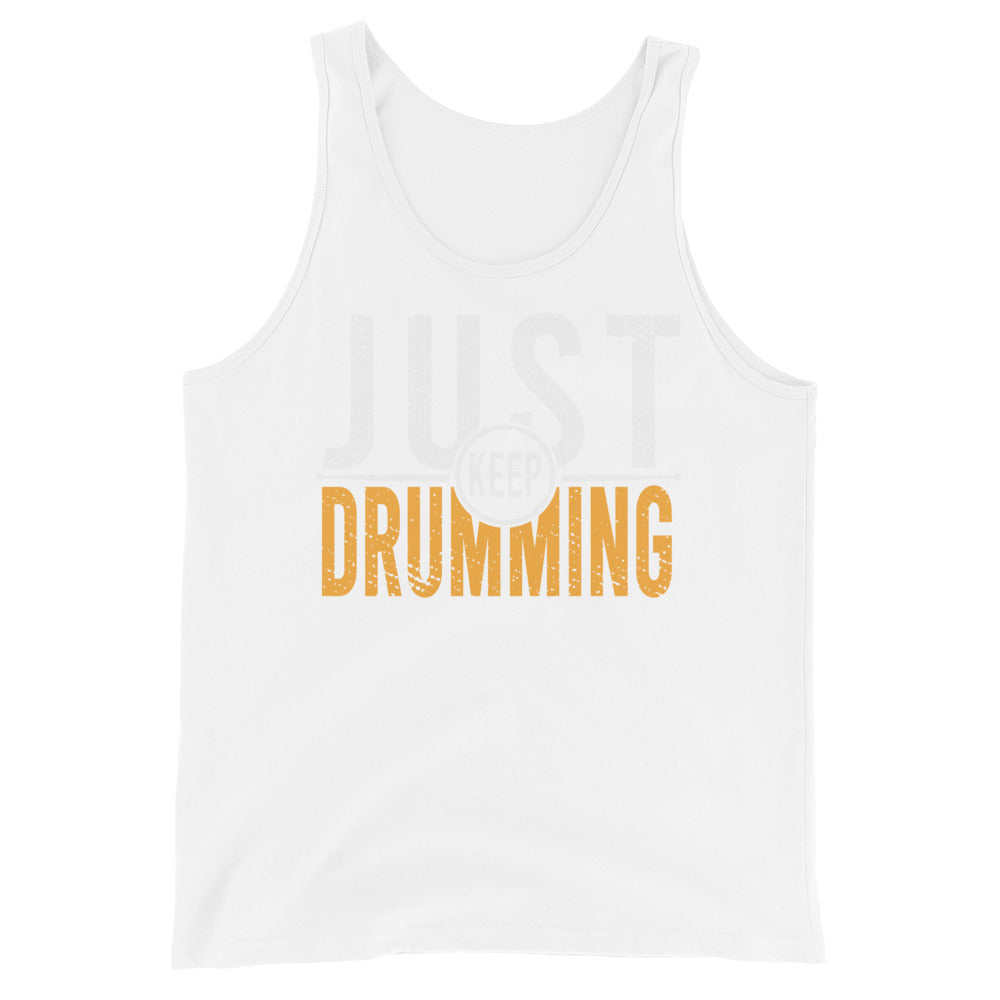 Just Keep Drumming Percussion Unisex Tank Top-Marching Arts Merchandise-White-XS-Marching Arts Merchandise