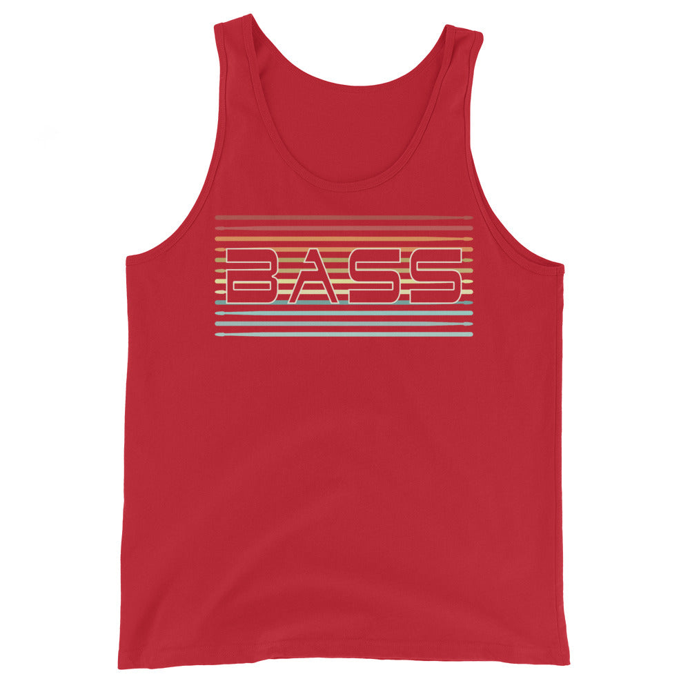 Retro Bass Percussion Unisex Tank Top-Marching Arts Merchandise-Red-XS-Marching Arts Merchandise