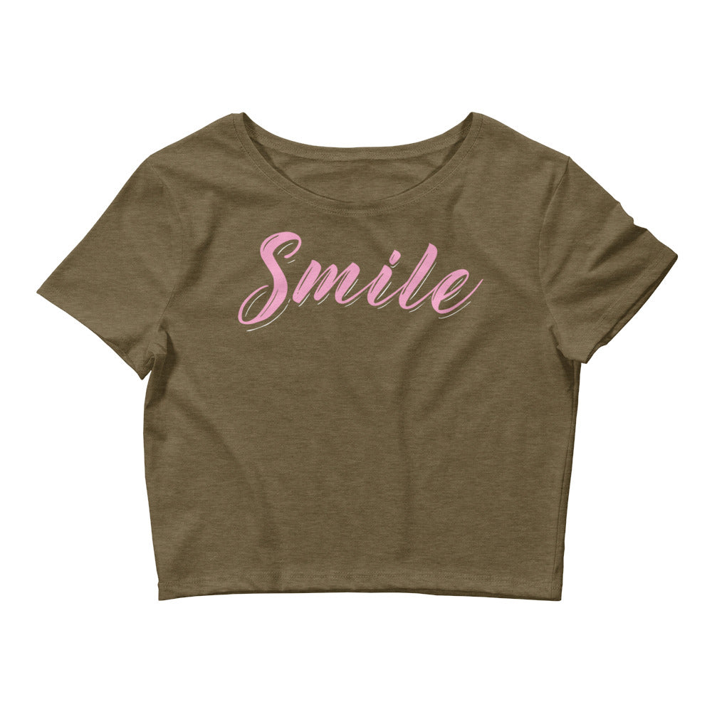 Smile Color Guard Women's Crop Tee-Marching Arts Merchandise-Heather Olive-XS/SM-Marching Arts Merchandise