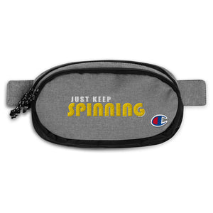 Just Keep Spinning Champion Fanny Pack-Marching Arts Merchandise-Heather Granite/Black-Marching Arts Merchandise