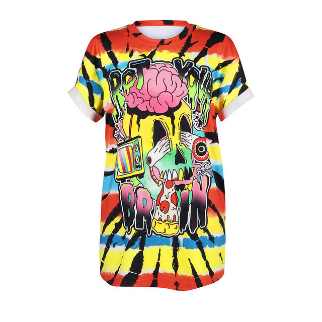 Eyeball Strong Brain Skull Loose T-shirt