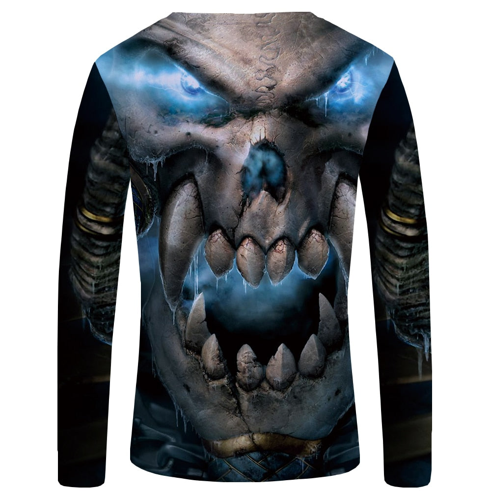 Skull Printed Long Sleeve Devil T Shirts