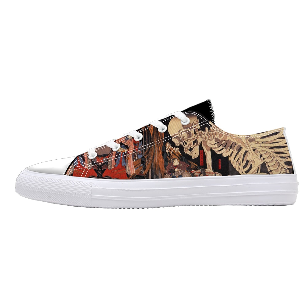 Skull Print Low Top Canvas Shoes