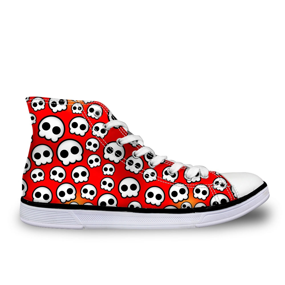 High Top Sneaker Skull Canvas Shoe
