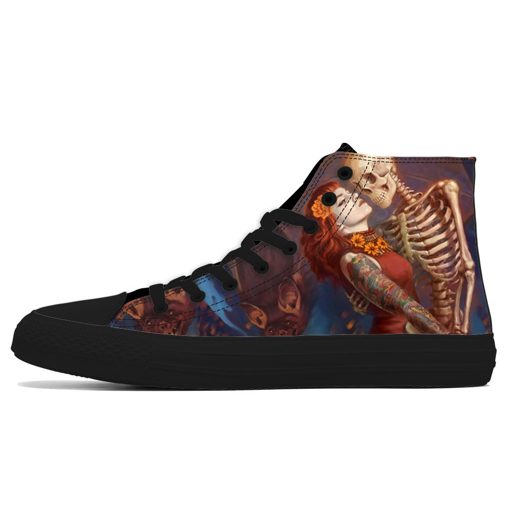 High Top Skull Print Walking Shoes