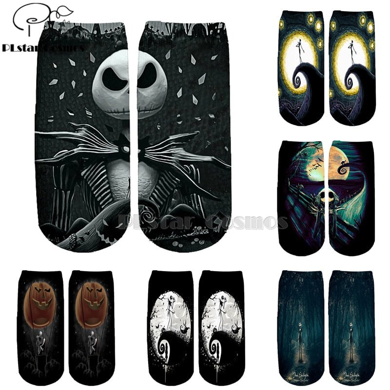 PLstar Cosmos nightmare before christmas jack skellington Cotton Socks Colorful Brand Warm Cartoon Short Ankle Halloween Socks-1