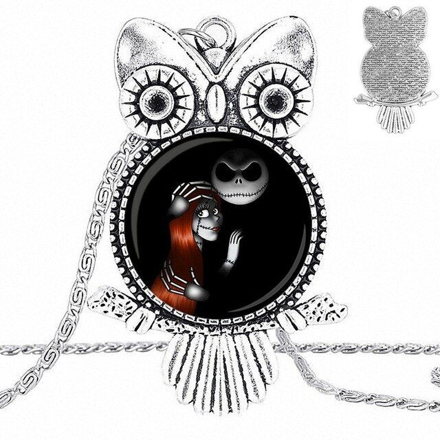 EJ Glaze Jewelry Plated Glass Cabochon Choker Long Pendant Owl Necklace For Girls Gift Jack and Sally