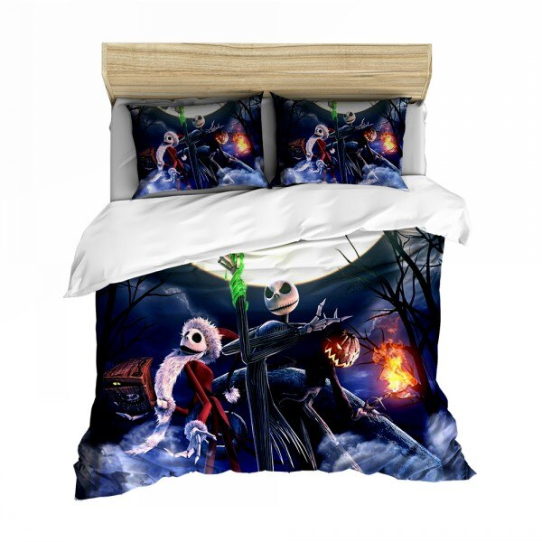 Soft Microfiber Duvet Cover Pumpkin King Jack Bedding the Nightmare Before Christmas Bed Linens Pillow Case Quilt Cover Bed Set