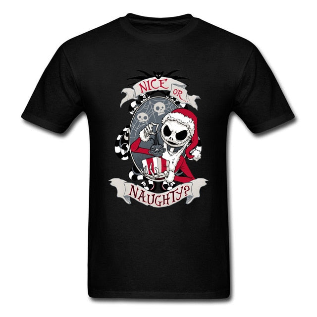 Scary Santa Nightmare Before Christmas Jack T Shirt Horror Skull Skeleton Summer Fall Round Neck Cotton Tshirt Men Saints' Day