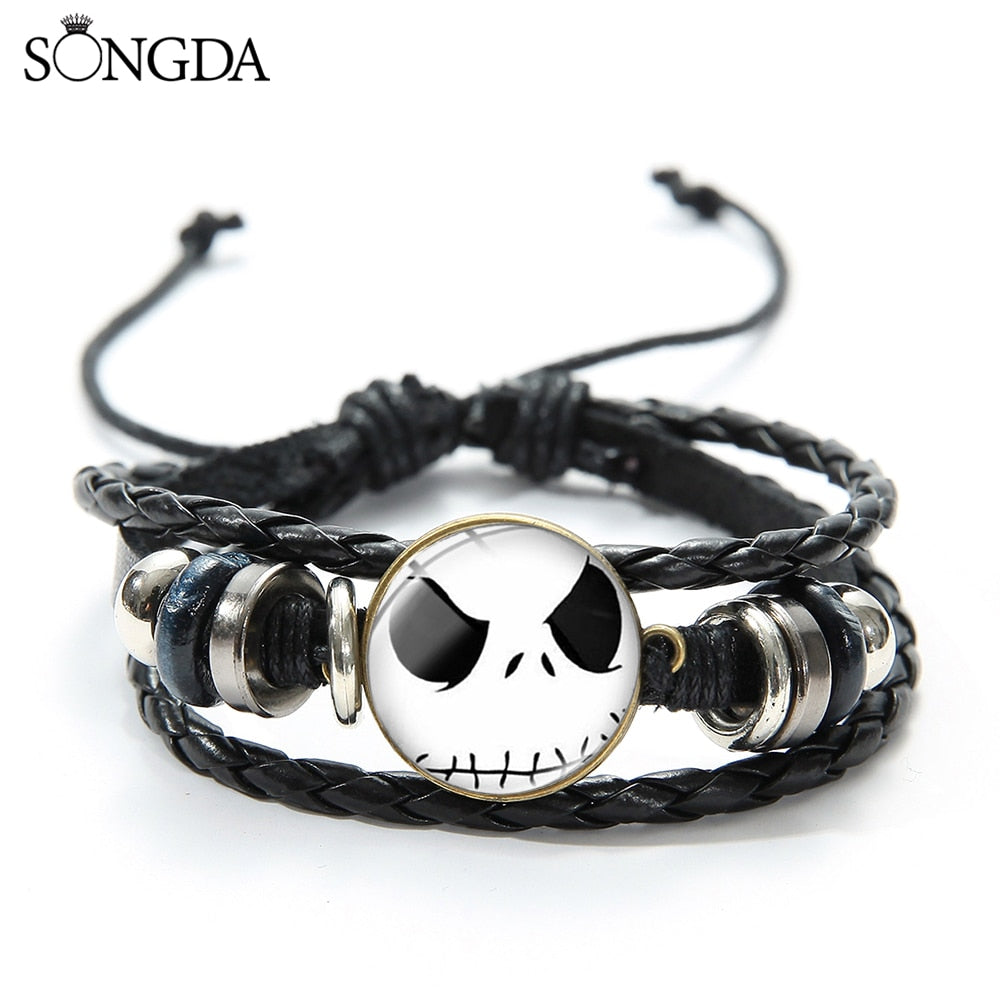 SONGDA New The Nightmare Before Christmas Bracelet Jack Skellington and Sally Cartoon Figure Charm Bracelet Unisex Jewelry Gift