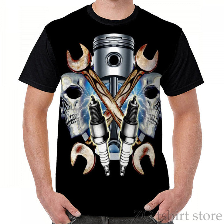 Skulls Spark Plugs Graphic T-Shirt
