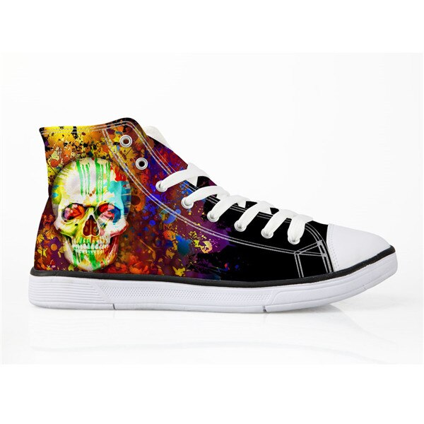 Punk Skull Print Canvas Hip Hop Shoes