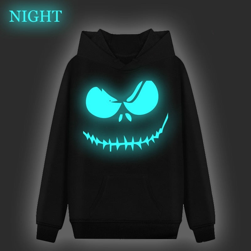 Men Women The Nightmare Before Christmas Jack Luminous Hoodie Fashion Long Sleeve Printing Hoodies Casual Sportswear Pullover