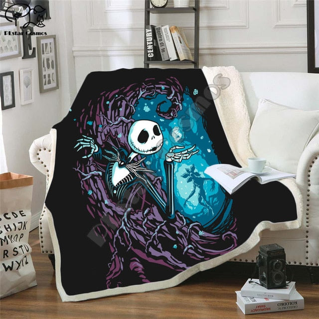 The Nightmare Before Christmas Jack Skull Sherpa Blanket  Plush Velvet Warm Sheet Cartoon Office Nap Blanket  JACK-0015