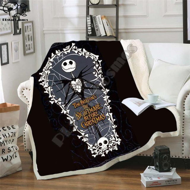 The Nightmare Before Christmas Jack Skull Sherpa Blanket  Plush Velvet Warm Sheet Cartoon Office Nap Blanket  JACK-0013
