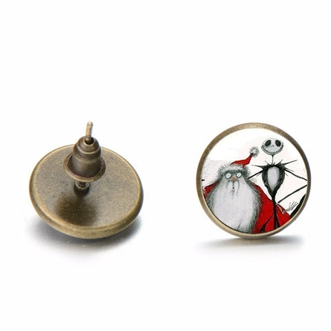 SONGDA Jack Skellington and Sally Evil Smile Earrings Skeleton Anime The Nightmare Before Christmas Glass Dome Halloween Earring
