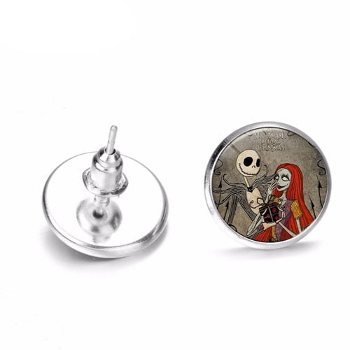 SONGDA Brand The Nightmare Before Christmas Stud Earrings Jack And Sally Printed Glass Cabochon Earrings Fashion Cartoon Jewelry