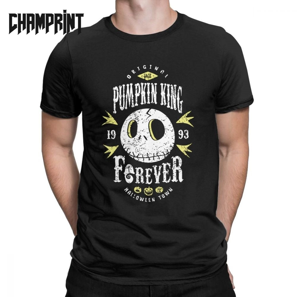 Pumpkin King Forever Jack Skellington T-Shirt Men Nightmare Before Christmas 100% Cotton Tee Short Sleeve T Shirts Big Size