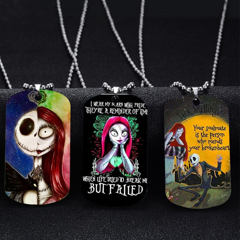 Halloween Jack Sally Pendant Necklace Round Strand Chain Colorful Stainless Steel Necklace Party Gifts
