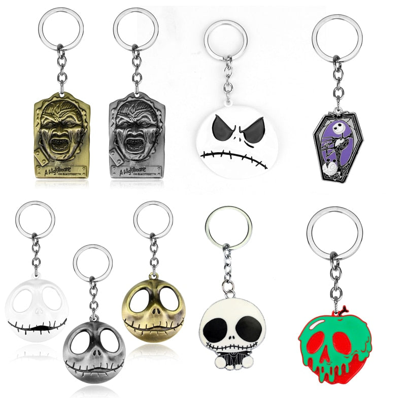 Key Chain The Nightmare Before Christmas Jack Skellington Pendant Keychain Metal charms Keyholder Men Women Halloween Gift