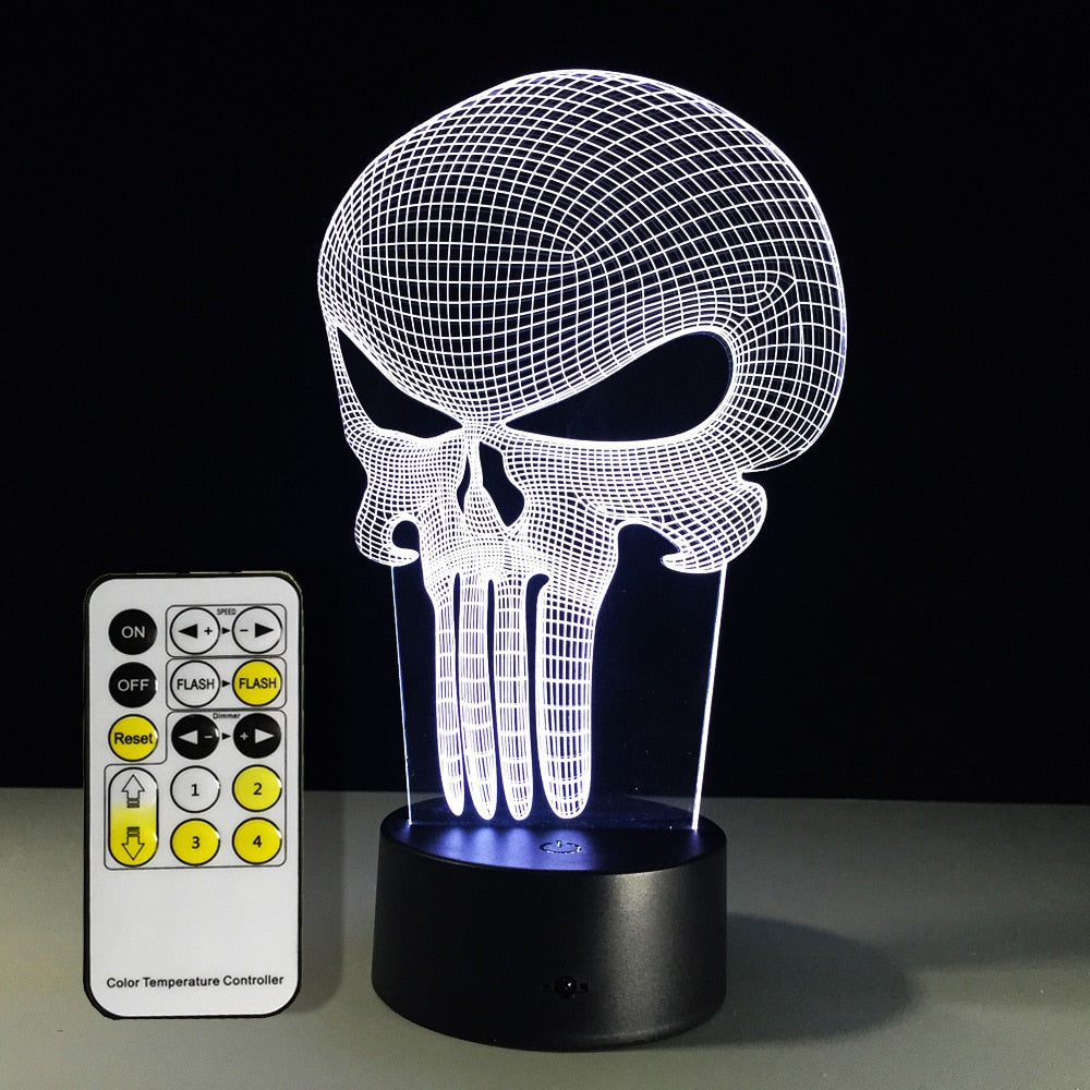 Punisher Skull Multi-colored Light