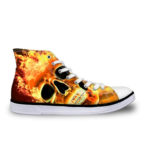 Cool Punk Skull Printed Men's Shoes