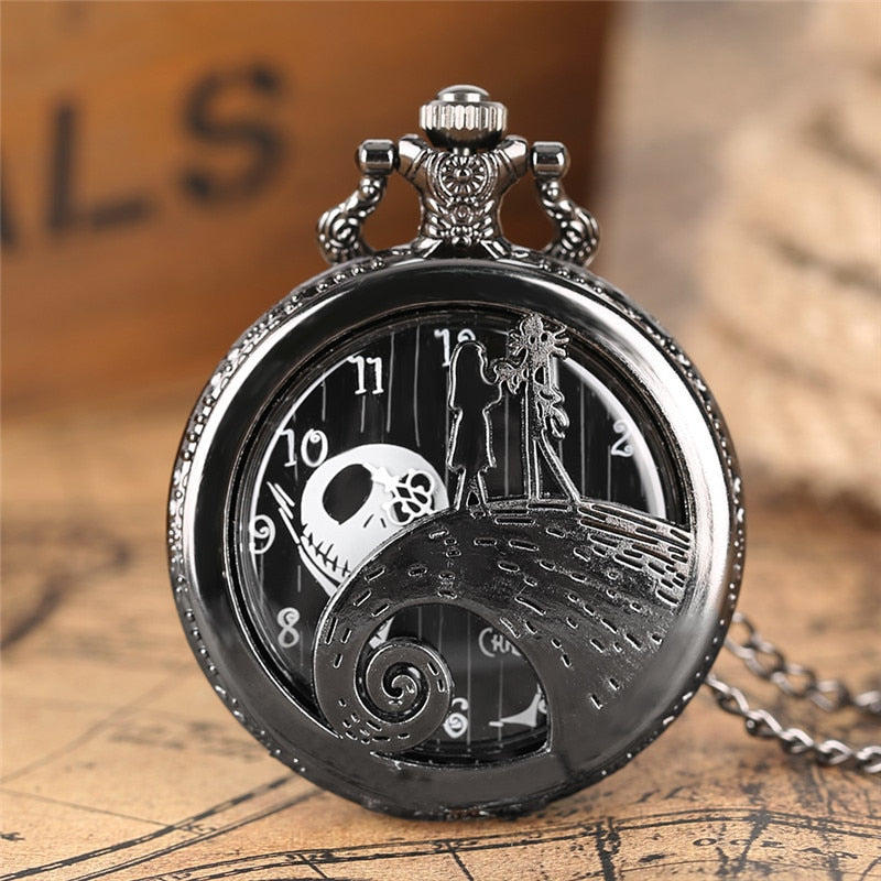 Cool Black The Nightmare Before Christmas Coffin Sally Jack Skellington Quartz Pocket Watch Necklace Fob Chain Mens Womens Gift