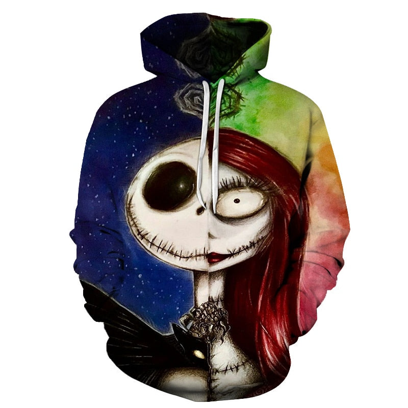 Jack and sally painting Hoodies 3D Sweatshirts Men Women Tracksuits 2018 Hooded Pullover Brand Drop Ship Hoodie Casual Coats