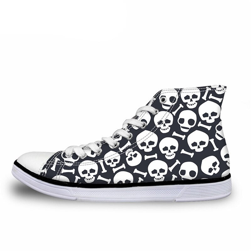 Punk Skulls Print Canvas Shoes