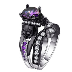Charm Black Round Cubic Evil Ring