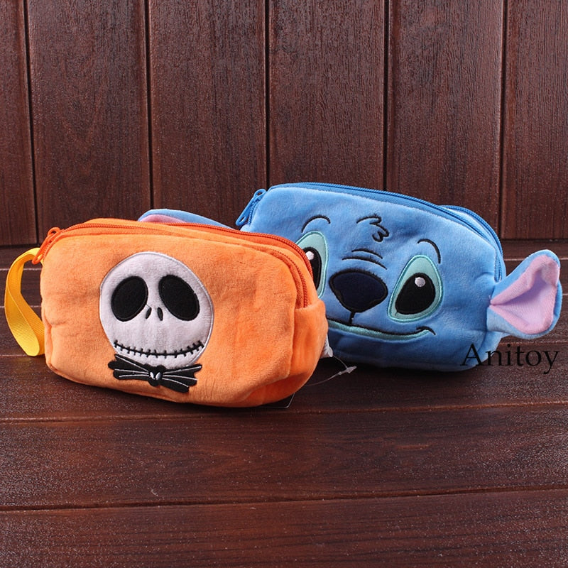 Stitch / Jack Skellington Plush Makeup Bag Travel Cosmetic Bag Cute Plush Pencil Case Soft Dolls Stuffed Toys 20x15cm