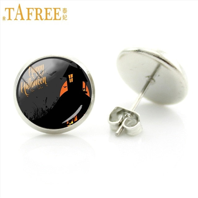 TAFREE Vintage Jack Skellington Stud Earrings The Nightmare Before Christmas Halloween Party Jewelry Women Earrings Gifts J59