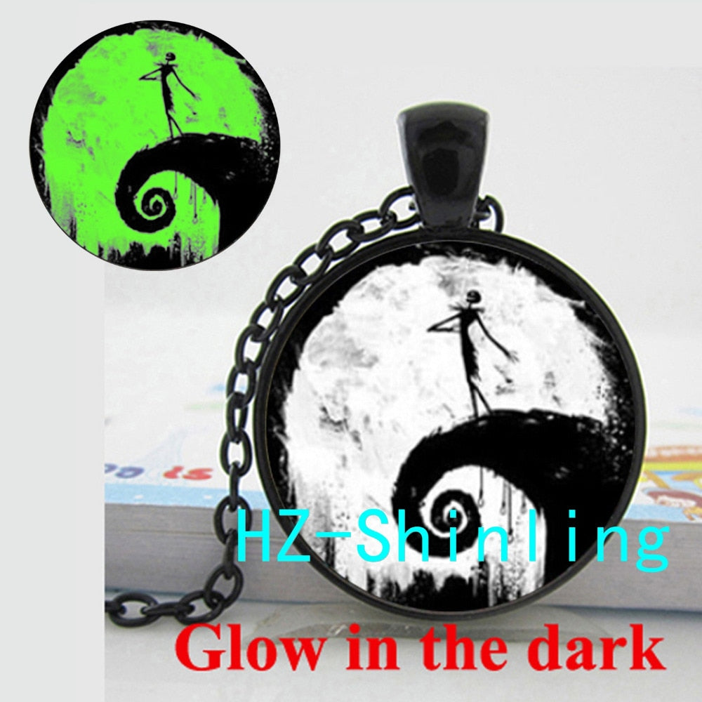 Glowing Pendant Nightmare Before Christmas Necklace Jack Skellington Jewelry Glow in The Dark Necklace