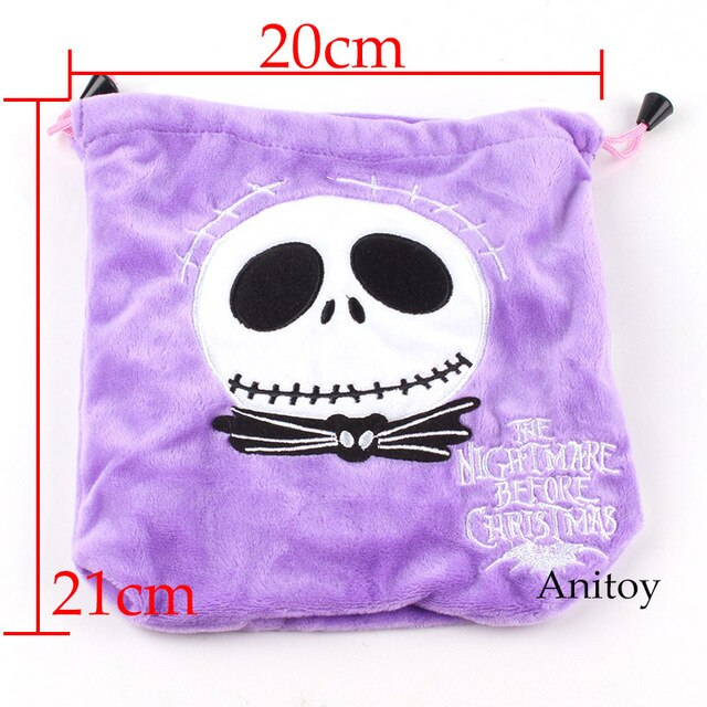 The Nightmare Before Christmas Jack Skellington Plush Bag Drawstring Bag Soft Stuffed Doll Toys 21x20cm