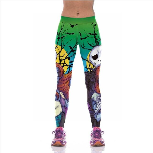 SzBlaze Womens Halloween Jack And Sally Printed Leggings The Nightmare Before Christmas Cosplay Leggin Slim Workout Girls Pants