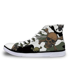 Camouflage Punk Skull Sneakers Shoes