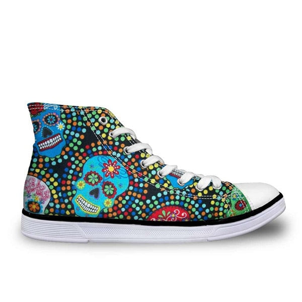Cool Punk Skull Printed Shoes