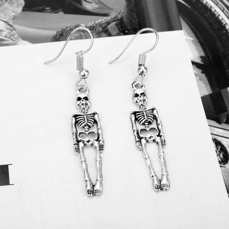 Skeleton Skull Punk Earrings