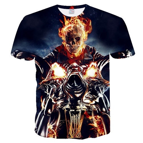 Short Sleeve 3D Skull Print T-shirt