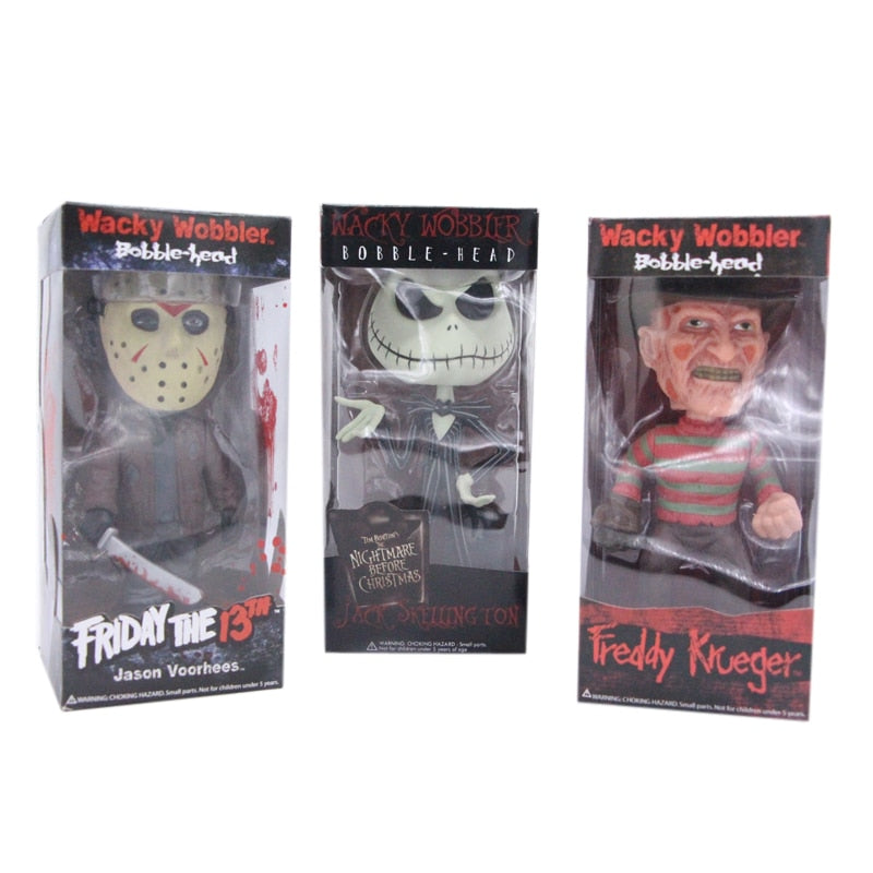 The Nightmare Before Christmas Jack Skellington & Freddy & Friday the 13 Jason Bobble-Head Wacky Wobbier Figure Toys 20cm
