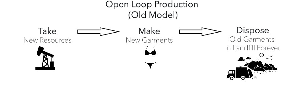 Open Loop: Take (new resources) → Make (new garments) → Dispose (old garments into landfills indefinitely)