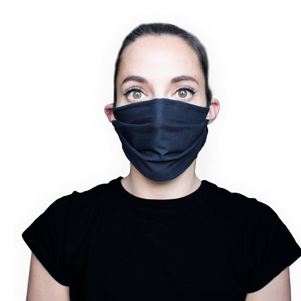 Black Face Mask (Pack of 1,3 or 6) / Washable / Reusable / 3 Layers of 100% Cotton