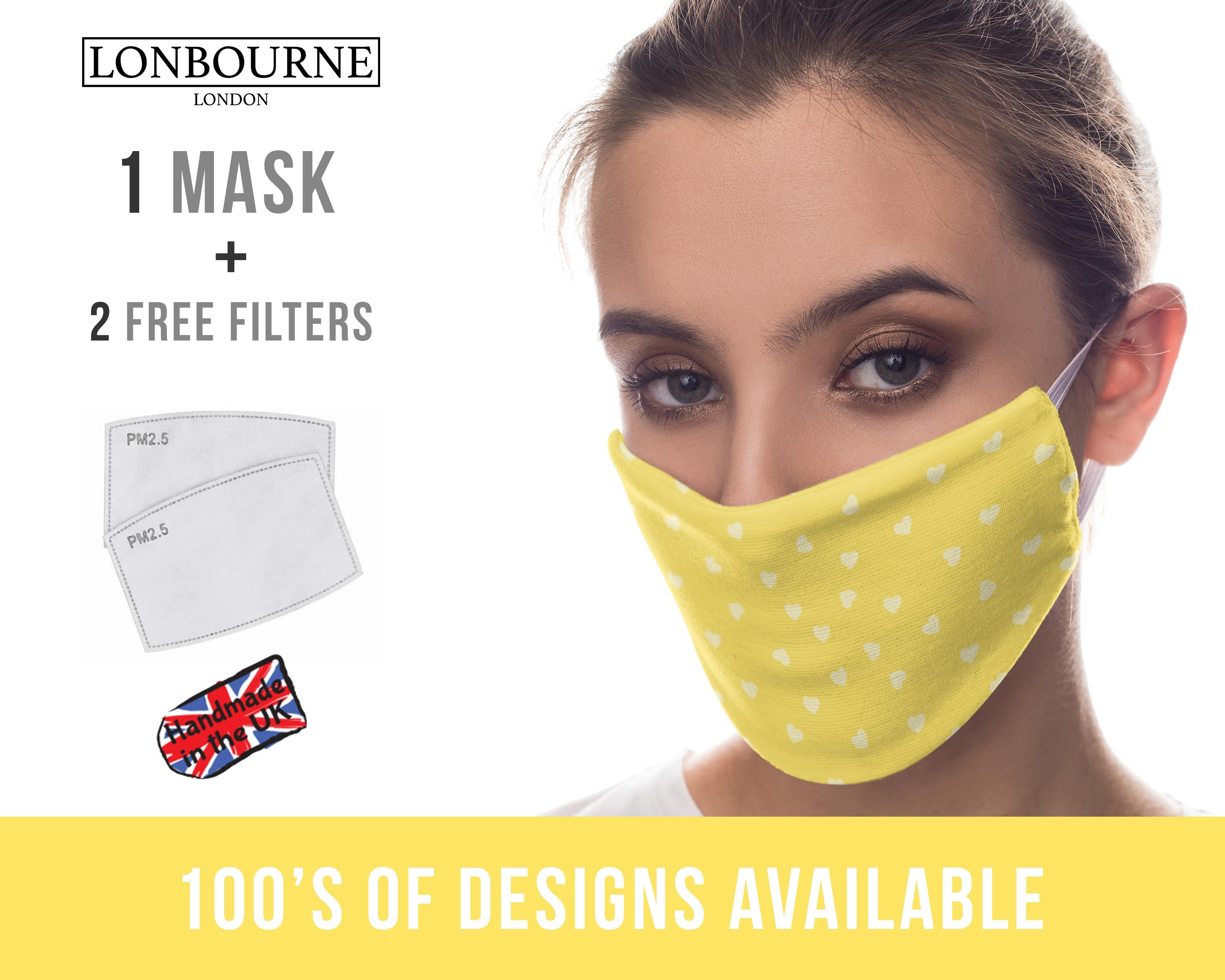Printed Face Mask - Yellow Love Hearts Pattern Design