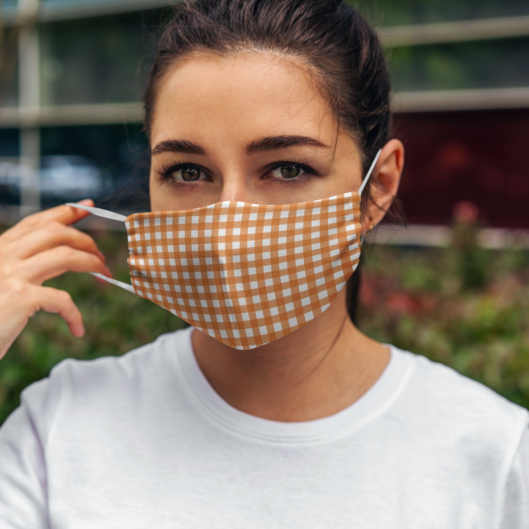 Printed Face Mask - Autumn Gingham Hand Drawn Design