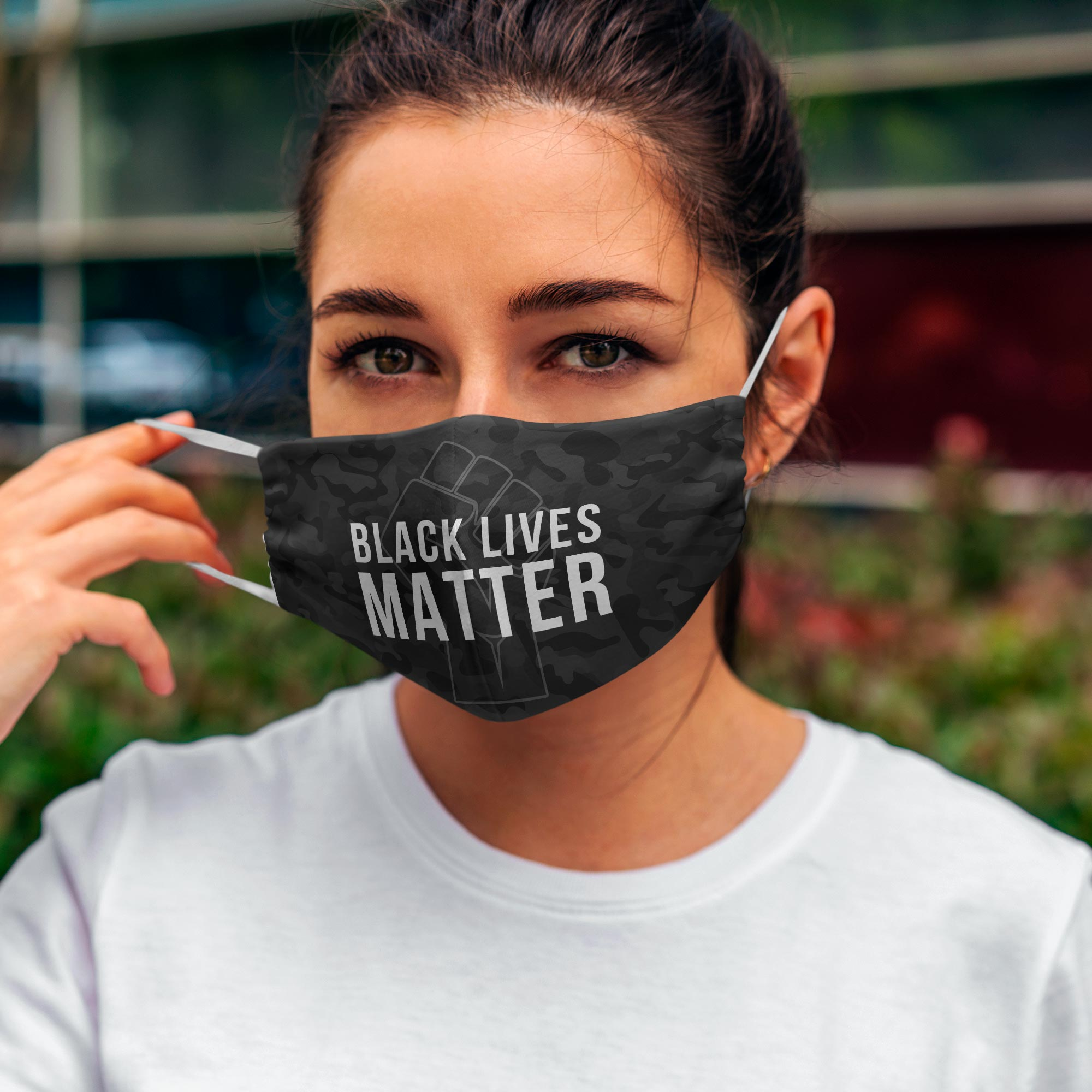 Printed Face Mask - Black Lives Matter Camo Design